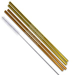 Gold and Copper Stainless Steel Straws (Qty 4)