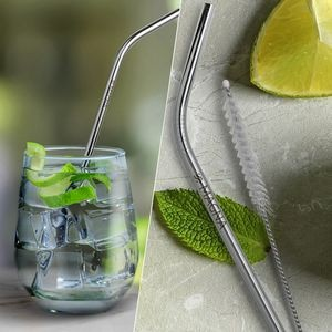 Bent Silver Stainless Steel Straw (Qty 1)