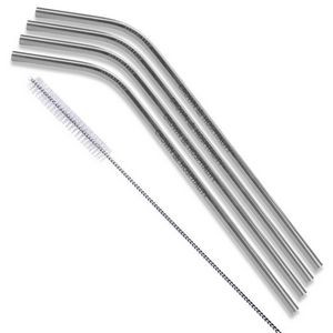 Bent Silver Stainless Steel Straw (Qty 4)